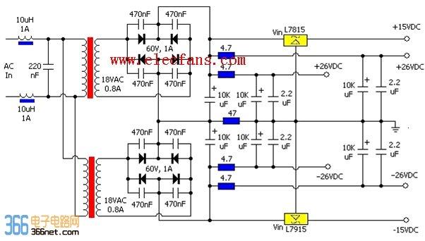 首页 >> 开关稳压电源电子电路图(输出正负15v)