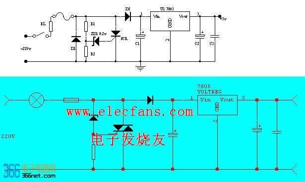 >> 7805稳压电路