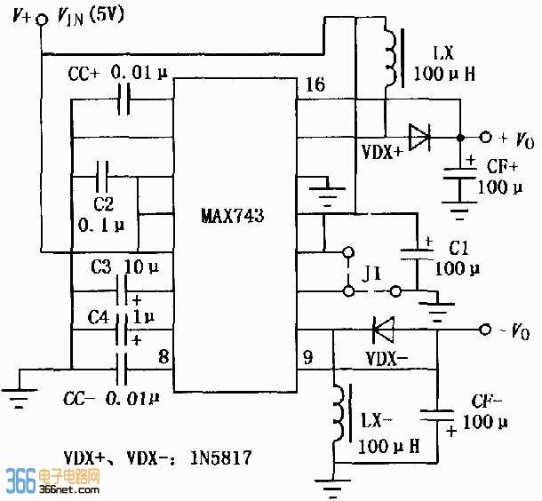 max743升压开关型dcdc变换器应用电路