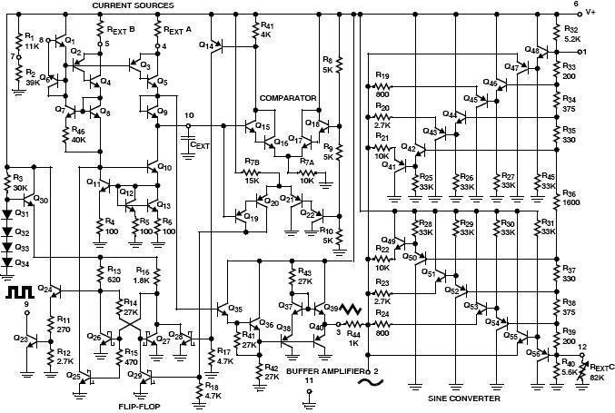 icl8038内部电路方框图 由图2可知, 该芯片由三角波振荡电路,比较器1