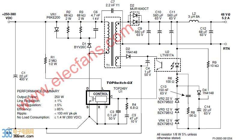 图43所示为输入电压250