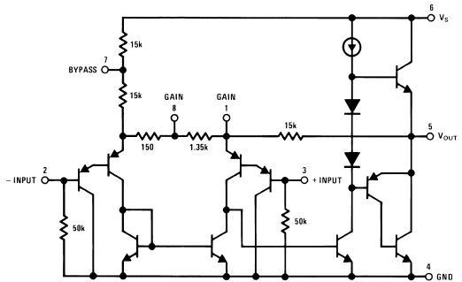lm386的内部电路图及引脚排列图如图1