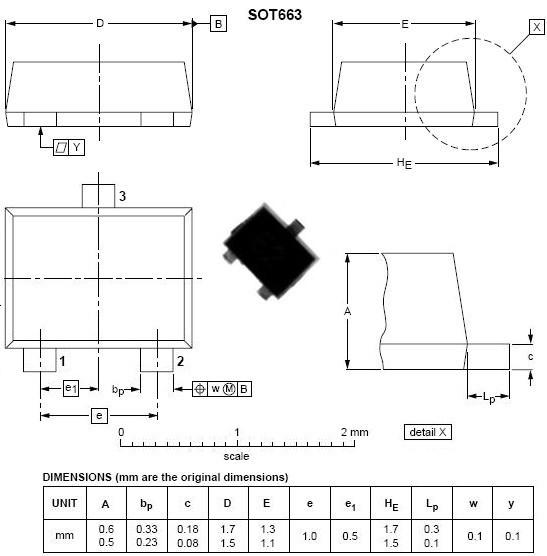 表面贴装元件英制封装图尺寸:sot663
