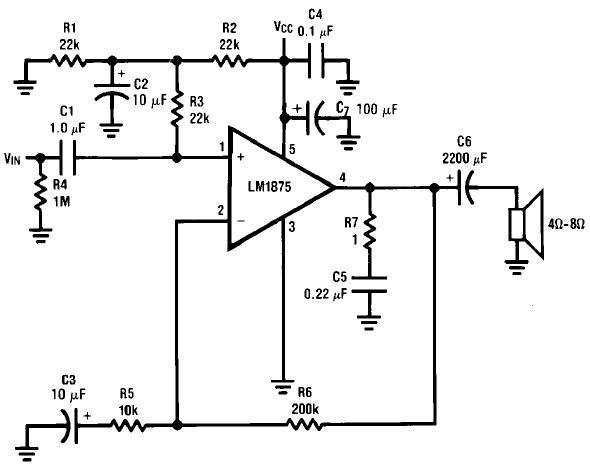 制作lm1875应用功放电路图纸原理图  lm1875是美国国家半导体公司(ns)