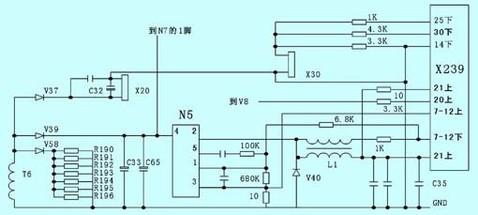 图5 x239端子与集成块n5的相关电路