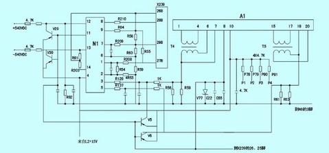 检查底板电源部分,查n4(uc3844)pwm脉宽调制集成块,测量外接4脚振荡