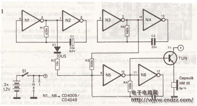 home >> 电子蟋蟀声发生器电路图  cd4009和cd4049都是六反相缓冲变换