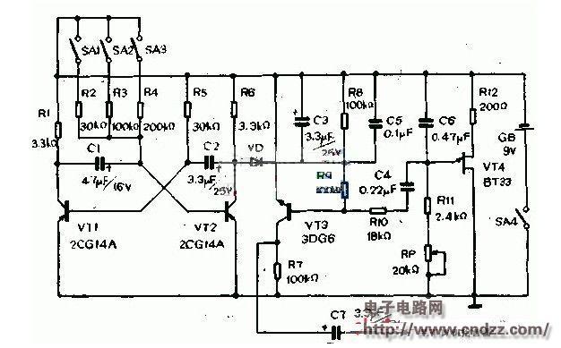 晶体管vt1,vt2等组成自激多谐振荡器,调整电阻r2,r3,r4的阻值即可
